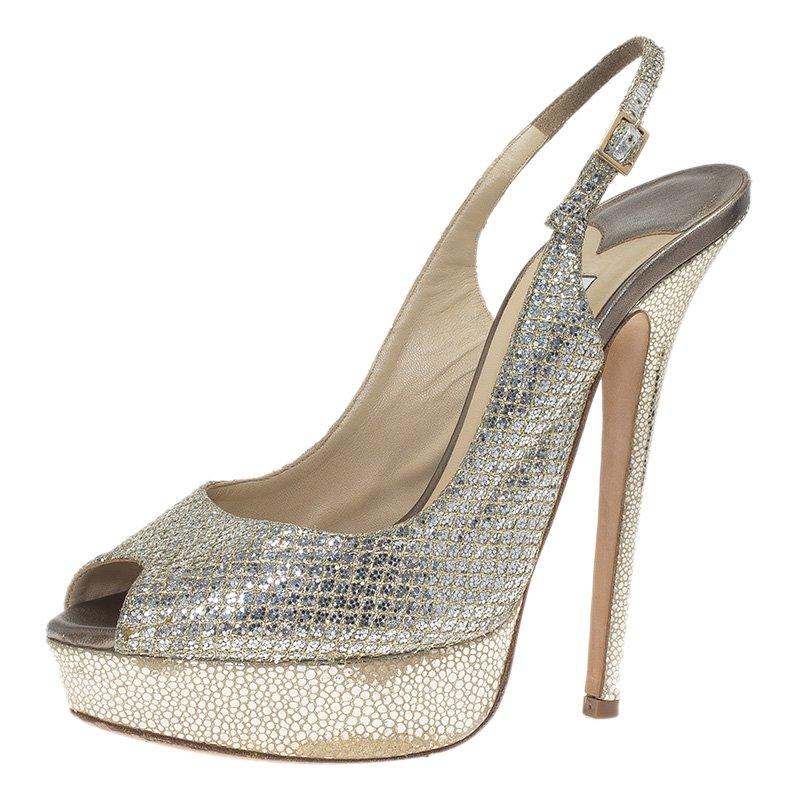 0cde001f9d7 ... Jimmy Choo Metallic Lamé Vita Platform Slingback Sandals Size 39.  nextprev. prevnext