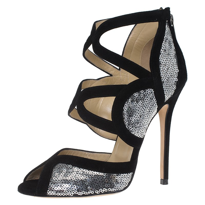 d3465040e121 Buy Jimmy Choo Black Suede and Silver Sequins Tempest Sandals Size ...
