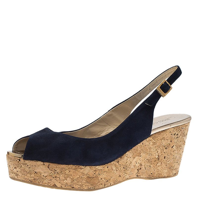 b7b46db01ff83 ... Navy Blue Suede Praise Cork Slingback Wedge Sandals Size 40. nextprev.  prevnext