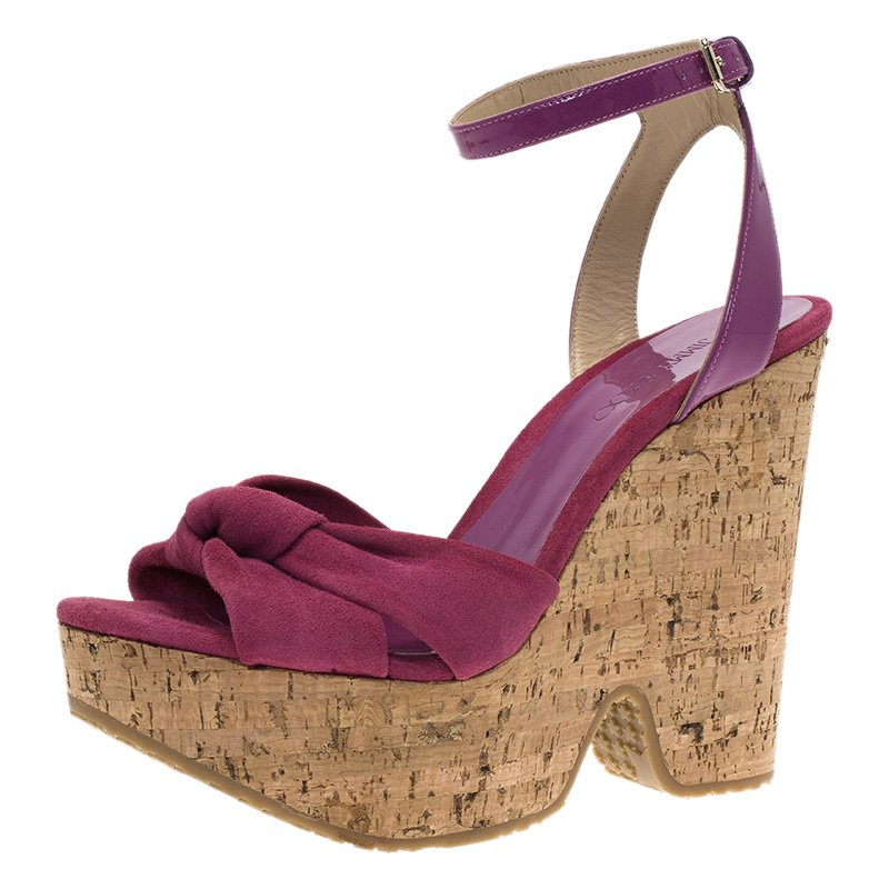 b580e75ced Buy Jimmy Choo Pink Suede and Patent Leather Gleam Cork Wedge ...