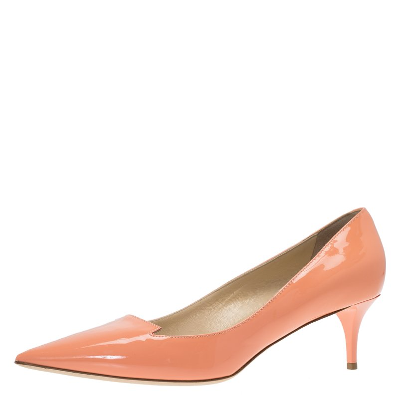 6c54084844bf Buy Jimmy Choo Peach Patent Allure Pumps Size 39 70342 at best price ...