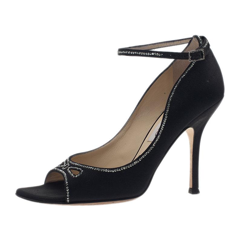 8899e8582ab ... Black Embellished Satin Ankle Strap Pumps Size 37. nextprev. prevnext