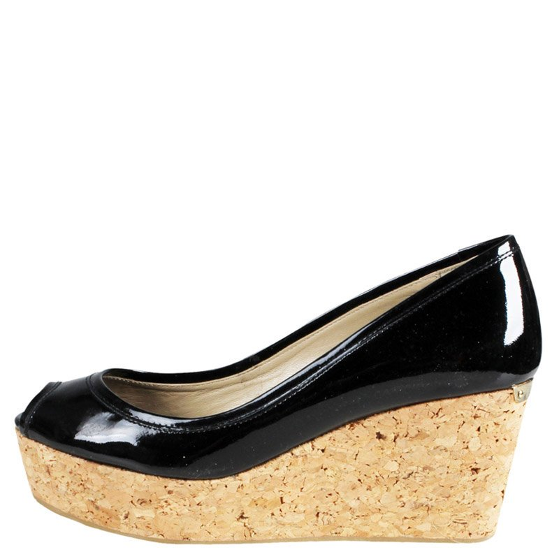 ded77f107f ... Jimmy Choo Black Patent Parley Cork Wedge Pumps Size 36. nextprev.  prevnext