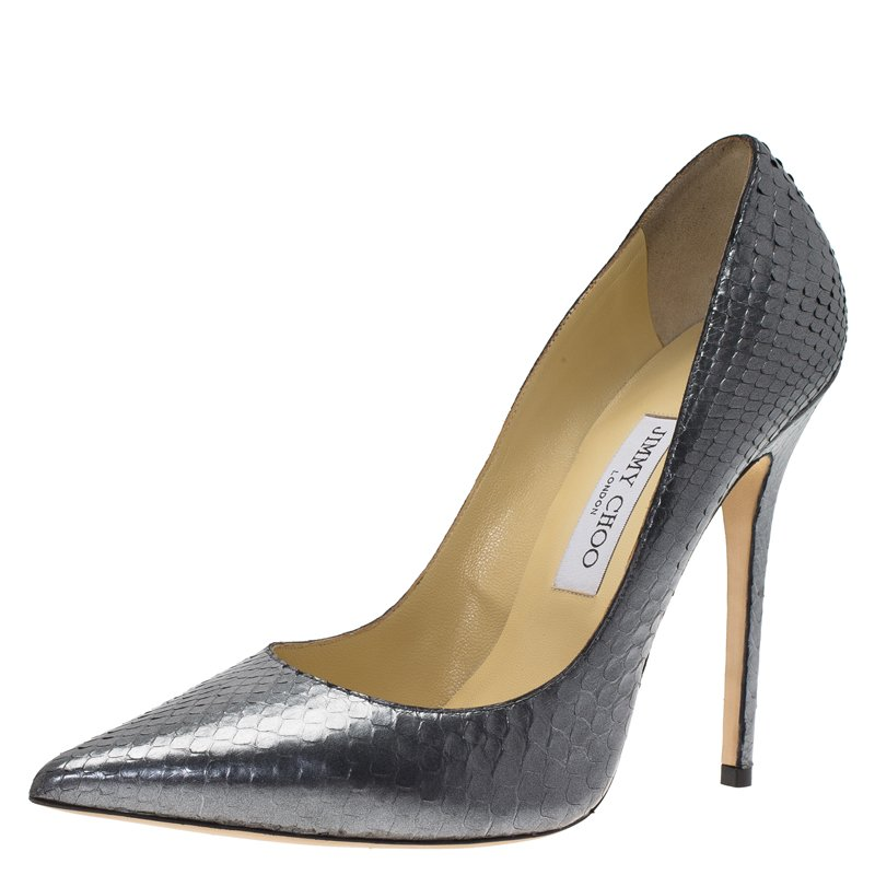 ff928be8a ... Jimmy Choo Silver Metallic Python Anouk Pumps Size 40.5. nextprev.  prevnext