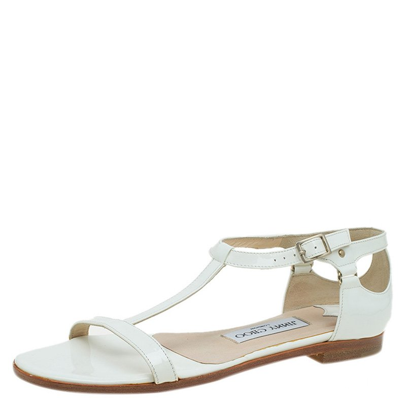 f40ff8aaef Buy Jimmy Choo White Patent Ankle Strap Flat Sandals Size 36 89255 ...