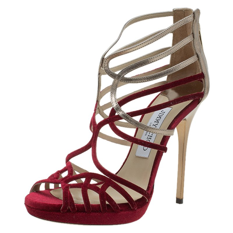 f70f8d30d74 Buy Jimmy Choo Red Velvet   Gold Leather Maury Strappy Sandals Size ...