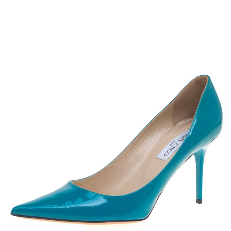 8320a4e9dbb Buy Jimmy Choo Azure Blue Patent Leather Abel Pointed Toe Pumps Size ...