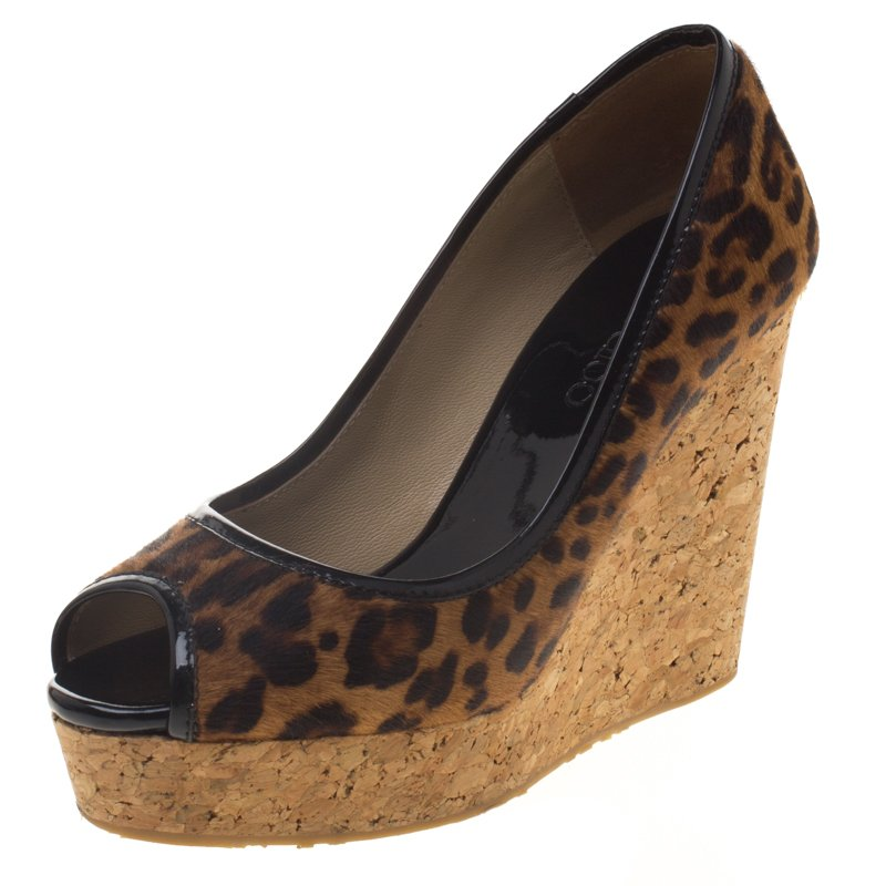 fe50963f841a Buy Jimmy Choo Leopard Print Pony Hair Papina Peep Toe Cork Wedge Pumps Size  35 96926 at best price