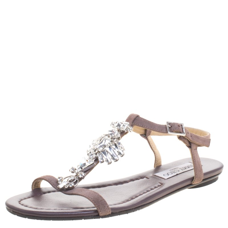 0e28d9bd9e ... Jimmy Choo Brown Suede Crystal Embellished Flat Sandals Size 38.5.  nextprev. prevnext