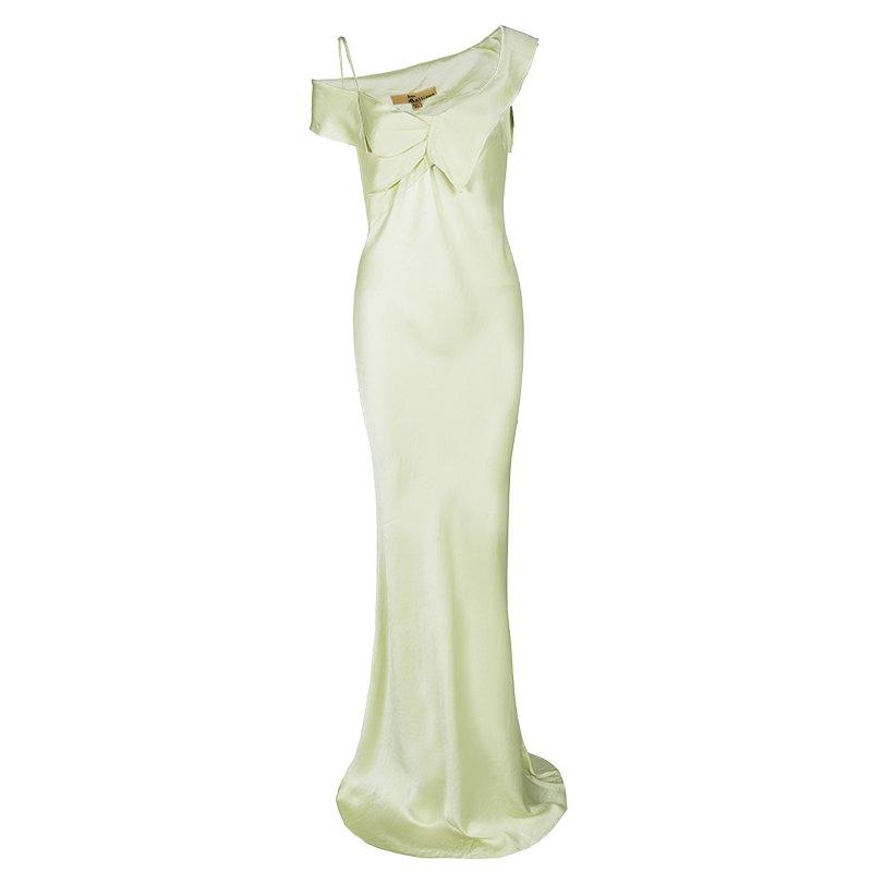 John Galliano Lemon Yellow Satin Asymmetric Shoulder Detail Maxi Dress M