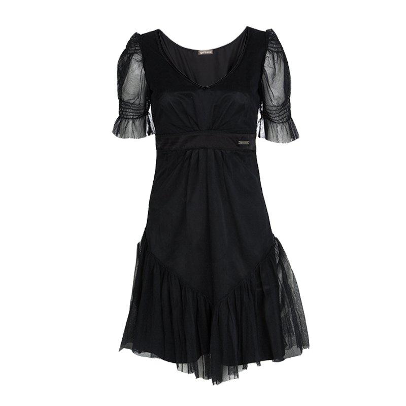 John Galliano Black Tulle V-Neck Abito Dress S