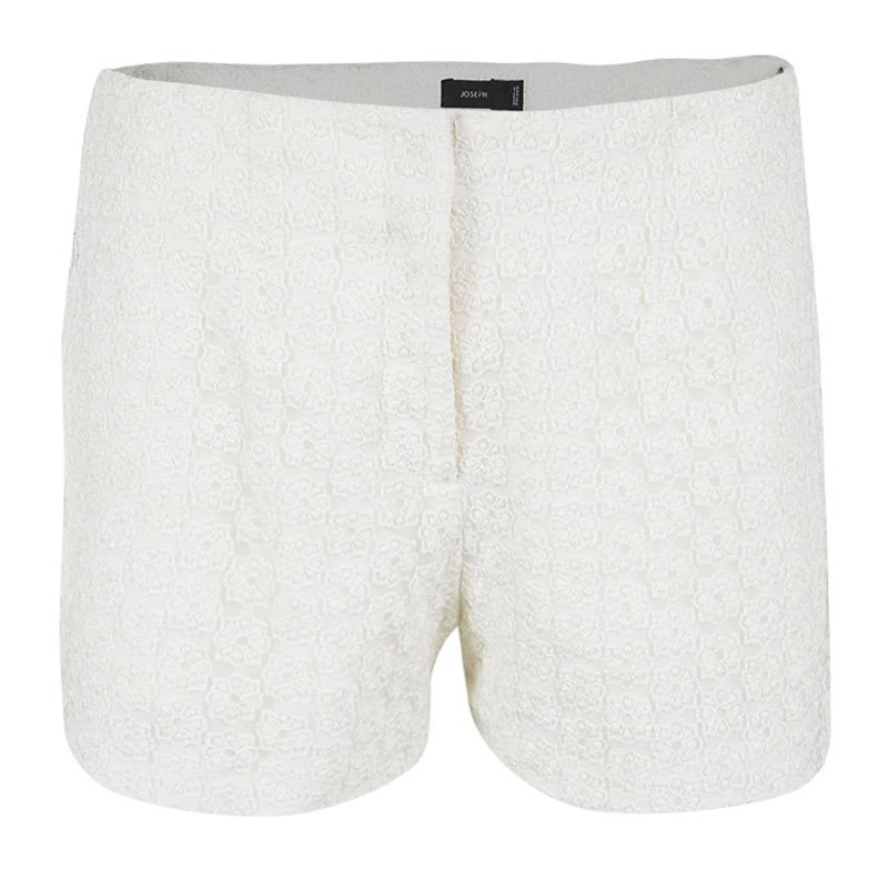 Joseph Cream Wren Embroidered Tulle Shorts M