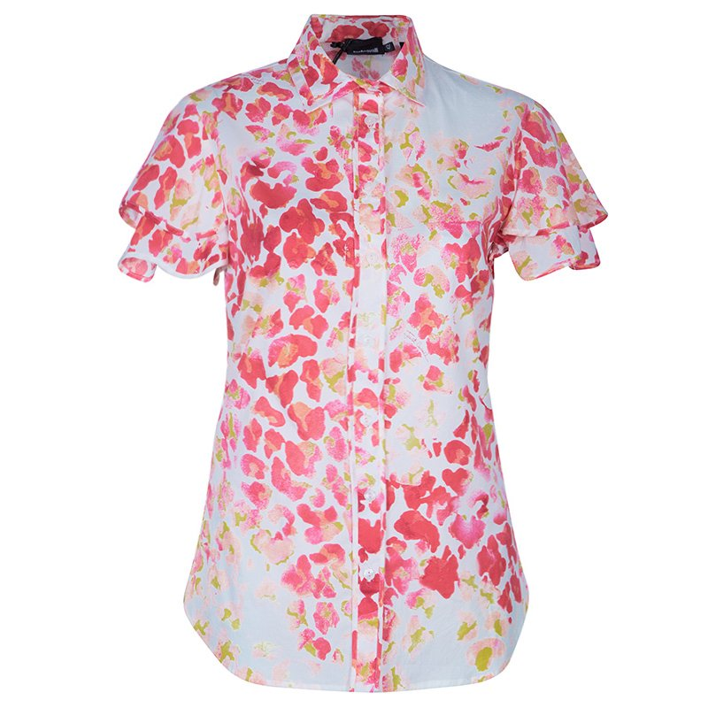 Just Cavalli Red & Yellow Floral Button Down Cotton Shirt M