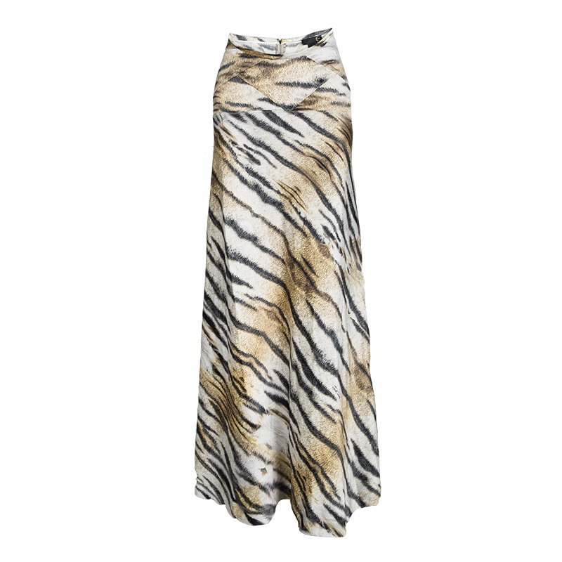 21a569f1c7 Buy Just Cavalli Tiger Printed Satin Flared Godet Maxi Skirt L ...