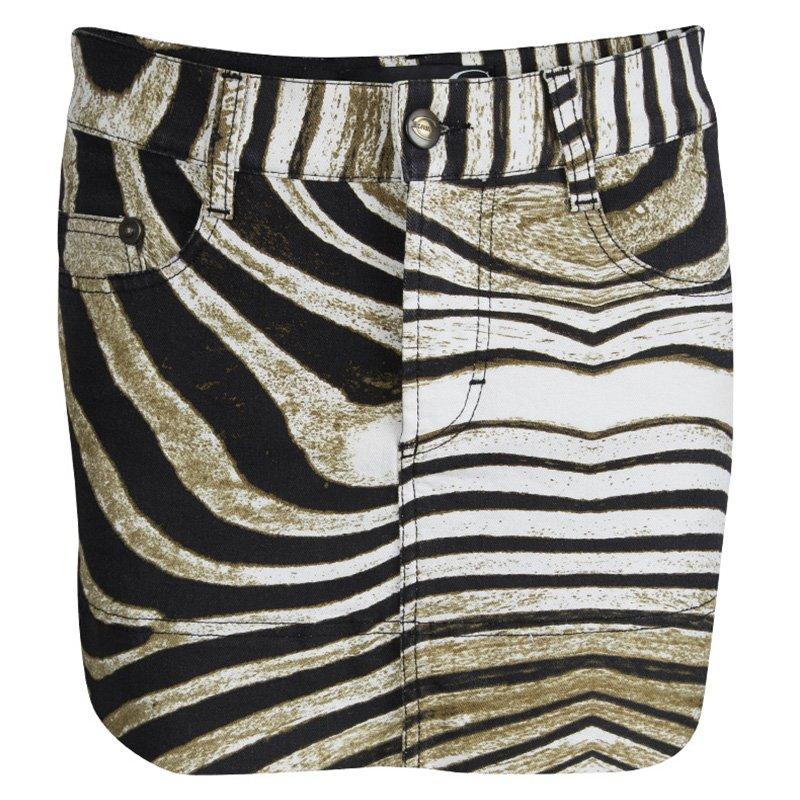 Just Cavalli Animal Printed Denim Mini Skirt  S