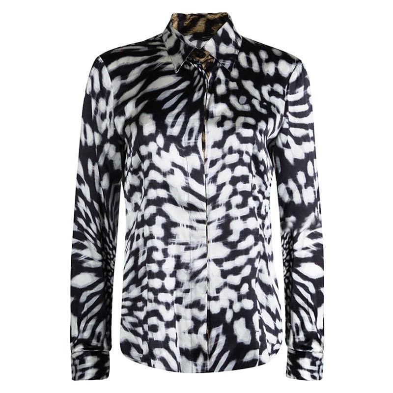 5959a72f15288 Buy Just Cavalli Black Silk Leopard Print Button Down Long Sleeve ...