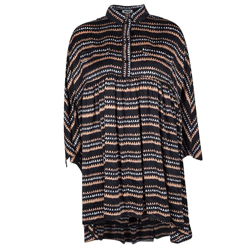 14715ea15097c8 ... Kenzo Black Abstract Printed Silk Oversized Button Front Tunic M.  nextprev. prevnext