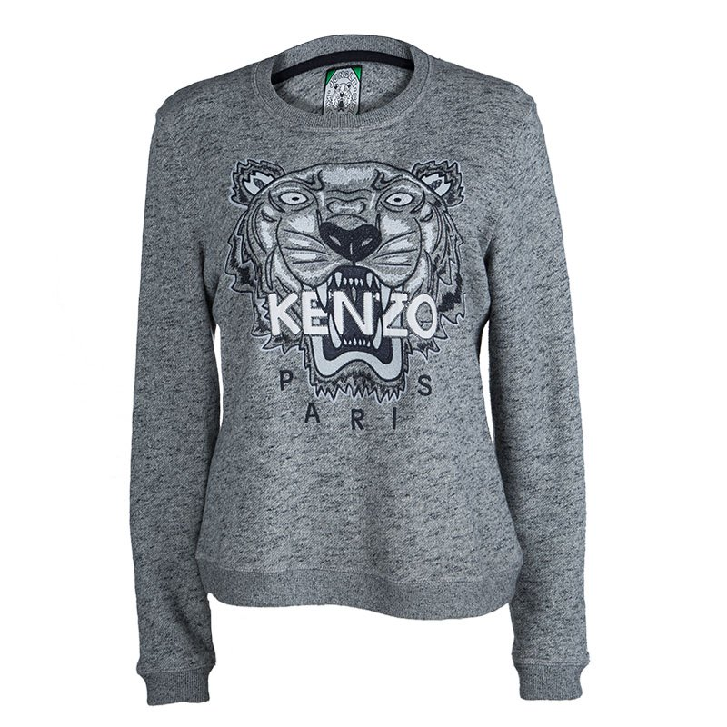29061267 Buy Kenzo Jungle Grey Slub Terry Embroidered Tiger Motif Sweatshirt ...