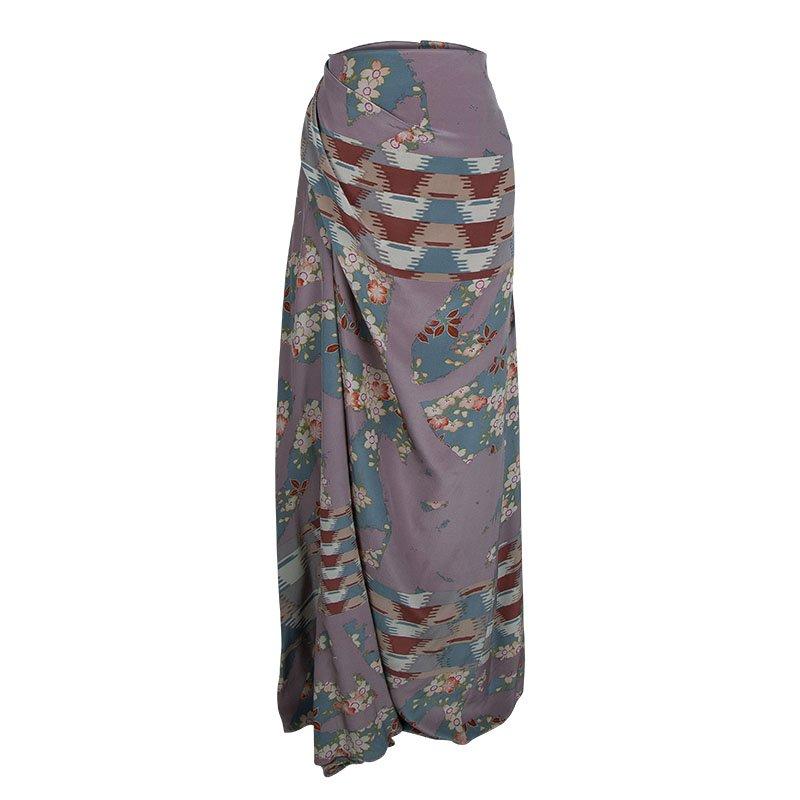 Kenzo Multicolor Floral Printed Silk Draped Maxi Skirt XL