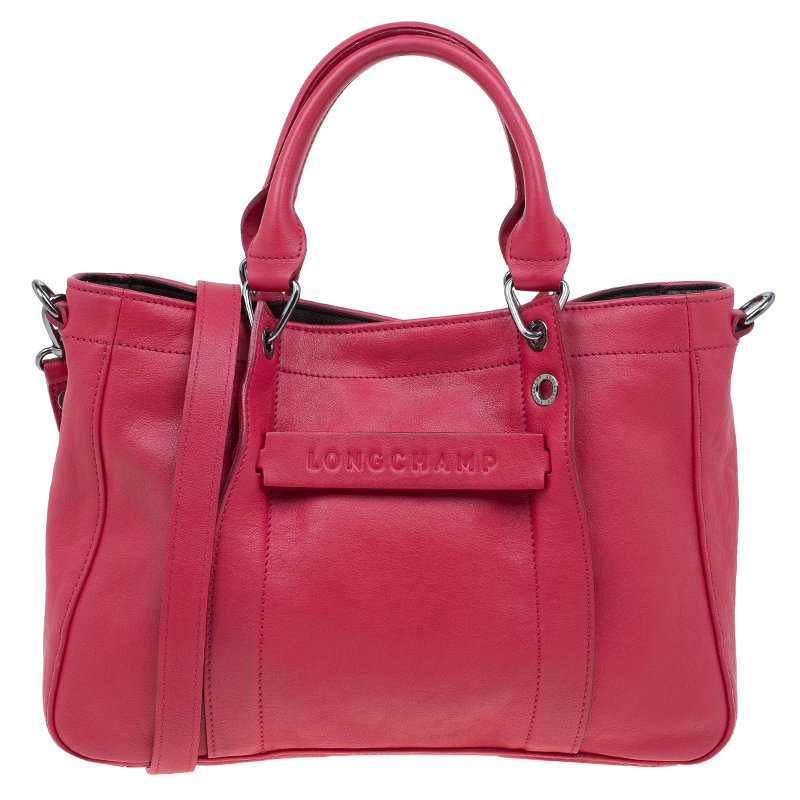 dd27256be496 Buy Longchamp Red Leather Small 3D Tote 61549 at best price