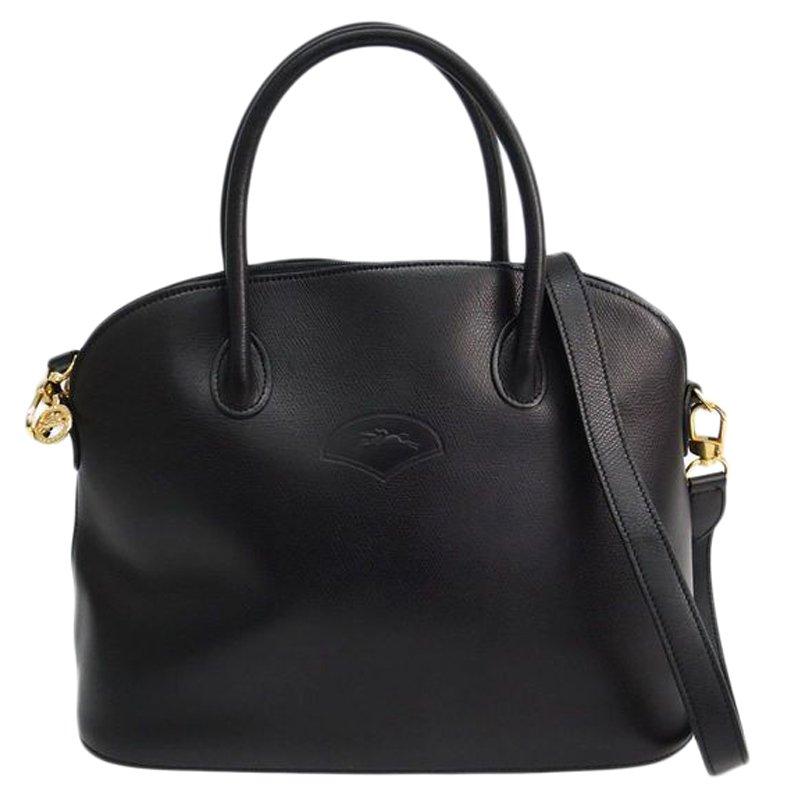 Buy Longchamp Black Leather Au Sultan Dome Satchel 78906 at best ... a653973d6ac1a