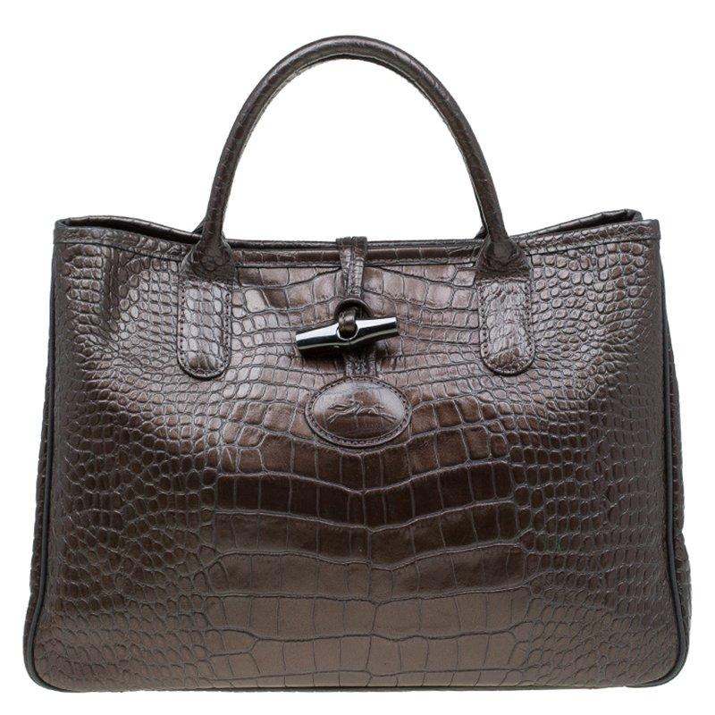 Longchamp Brown Glaze Croc Embossed Leather Roseau Tote