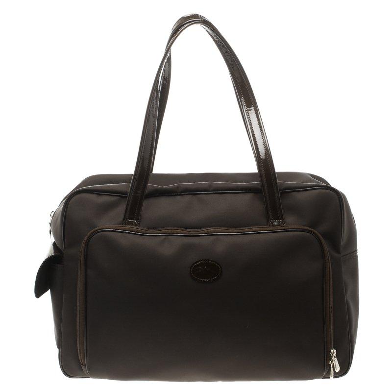 Longchamp Dark Brown Nylon Travel Bag