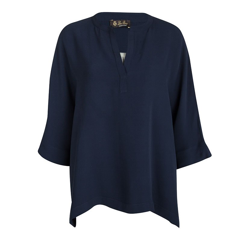 Loro Piana Navy Blue Silk Dolman Sleeve Oversized Blouse L