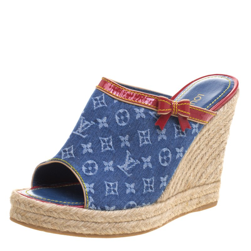 6450154b186 ... Blue Monogram Denim Espadrille Wedge Mules Size 39. nextprev. prevnext