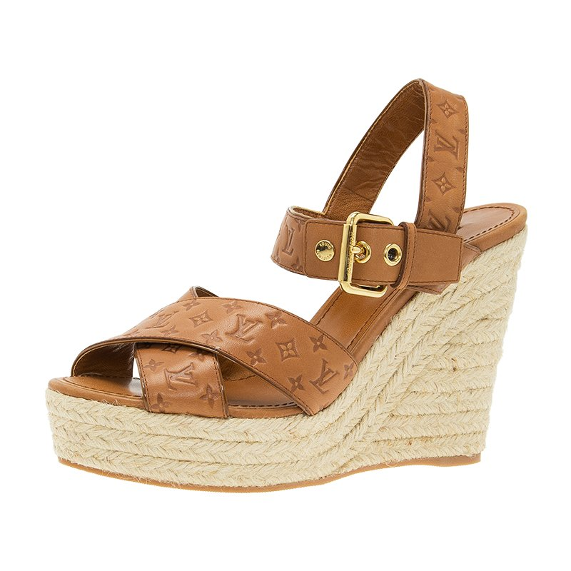 a13599dc473 Louis Vuitton Tan Monogram Idylle Leather Formentra Espadrille Wedge  Sandals Size 38