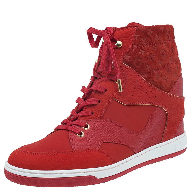dec51dc08d5 Louis Vuitton Red Leather and Suede Cliff Top Sneakers Size 39.5