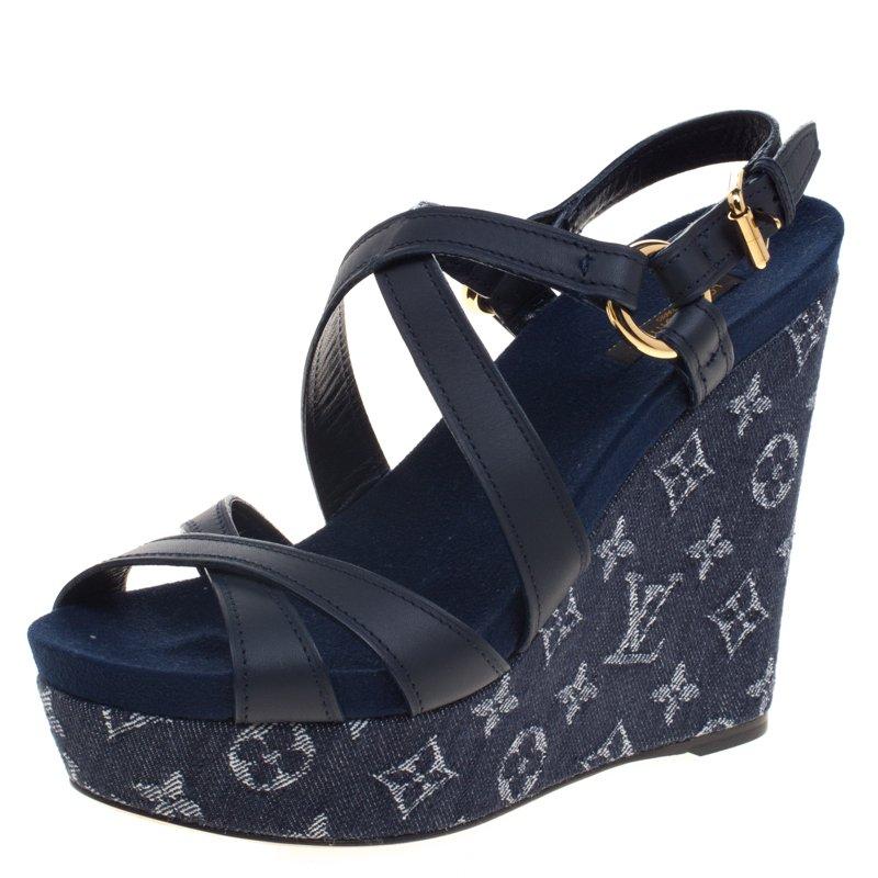 a41014d18e7d3 ... Louis Vuitton Blue Denim And Leather Ocean Criss Cross Wedge Sandals  Size 39. nextprev. prevnext