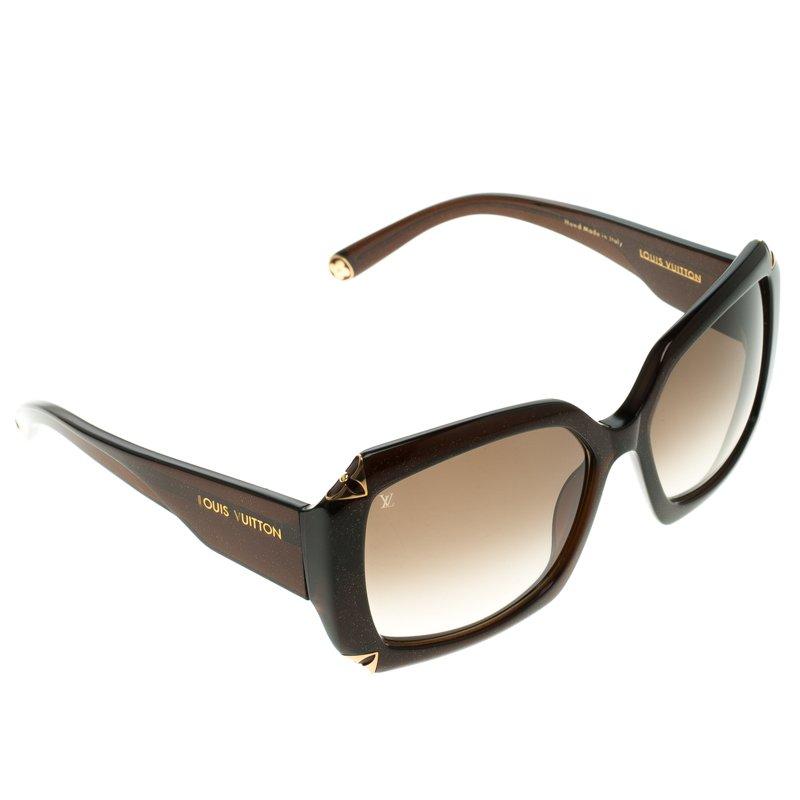 4ab4dac784c7 Buy Louis Vuitton Dark Brown Z0366W Hortensia Square Sunglasses ...