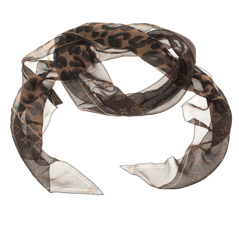 Louis Vuitton Brown Leopard and Monogram Silk Scarf