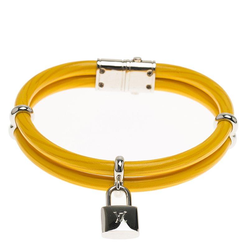 Louis Vuitton Keep It Twice Yellow Leather Padlock Charm Bracelet Size 17cm