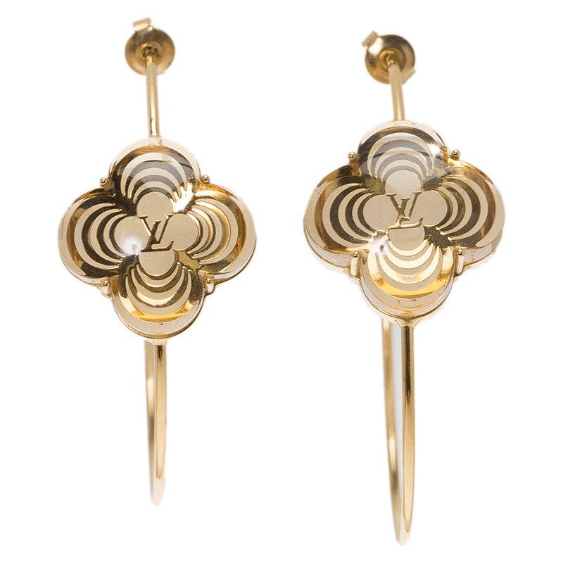 8bd73fb5f ... Louis Vuitton A la Folie Gold Tone Hoop Earrings. nextprev. prevnext