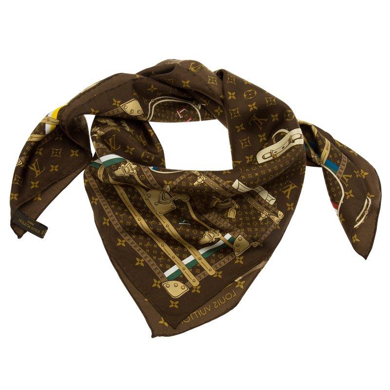 2b675e67007a ... Louis Vuitton Monogram Brown Trunks Silk Square Scarf. nextprev.  prevnext