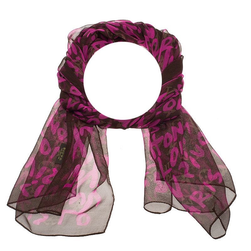 97447084939c0 ... Louis Vuitton Pink   Brown Stephen Sprouse Graffiti Monogram Scarf.  nextprev. prevnext