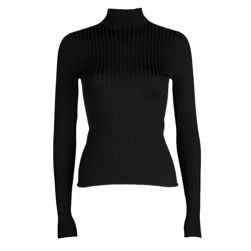 8d8bf3e575ace3 Buy Louis Vuitton Bicolor Rib Knit High Neck Long Sleeve Top XS ...