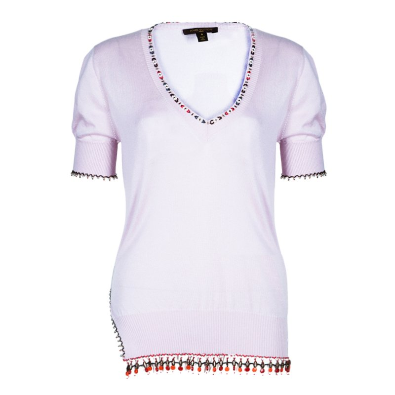 Louis Vuitton Embellished Pink Short Sleeve Sweater S