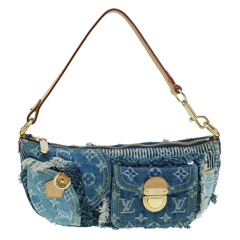 Louis Vuitton Denim Bag >> Louis Vuitton Blue Monogram Denim Patchwork Pouchy Bag