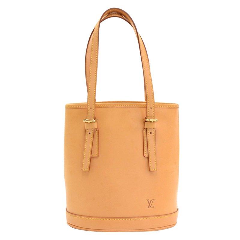 Buy Louis Vuitton Beige Nomade All Vachetta Leather Bucket PM Tote ... b1d58eeae72e2