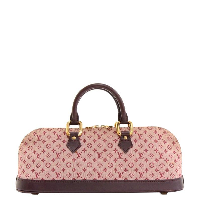 98f69335ce8e ... Louis Vuitton Red Monogram Mini Lin Alma Long Top Handle Bag. nextprev.  prevnext