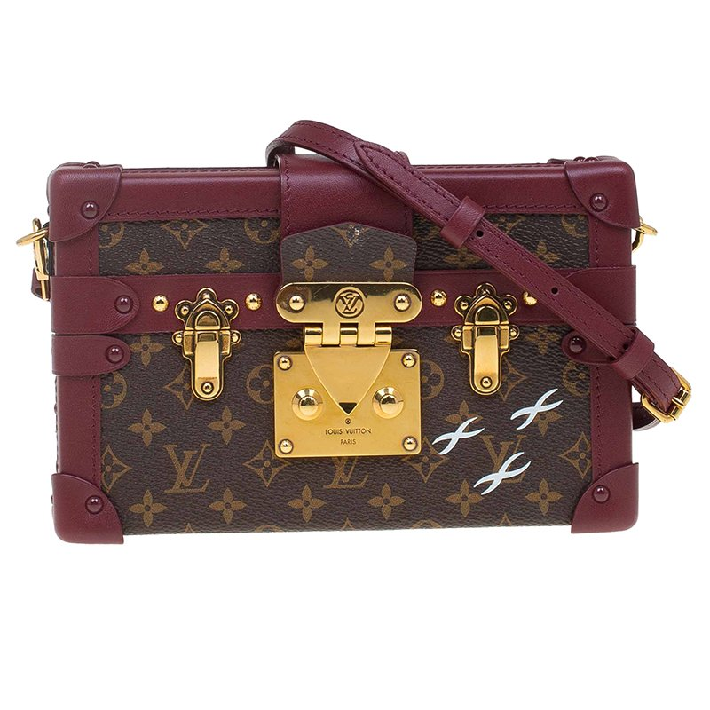 6dbb1a6bf714 Buy Louis Vuitton Burgundy Monogram Canvas Petite Malle Bag 66287 at ...