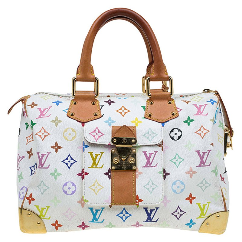 e6538898ffdf Buy Louis Vuitton White Multicolor Monogram Canvas Speedy 30 Bag ...