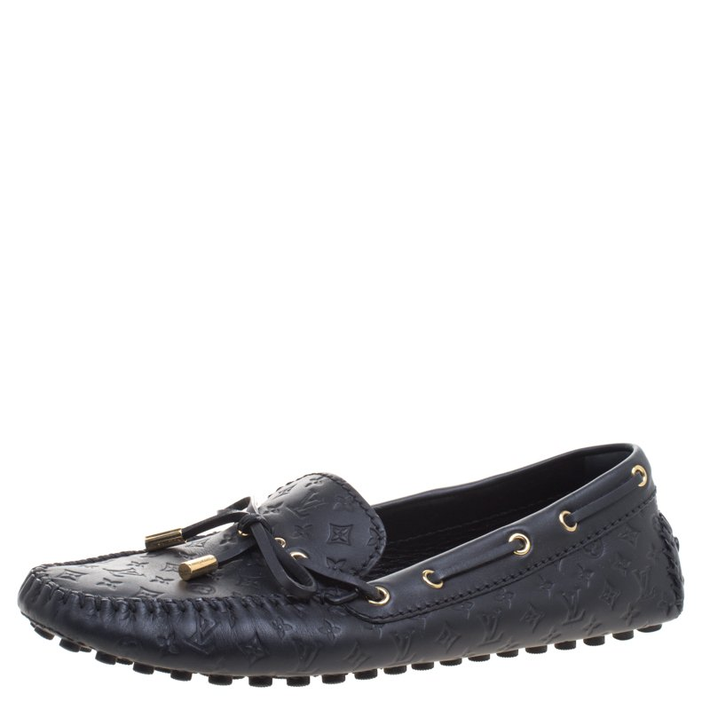 927f13dca09b ... Louis Vuitton Black Monogram Embossed Leather Gloria Flat Loafers Size  40. nextprev. prevnext
