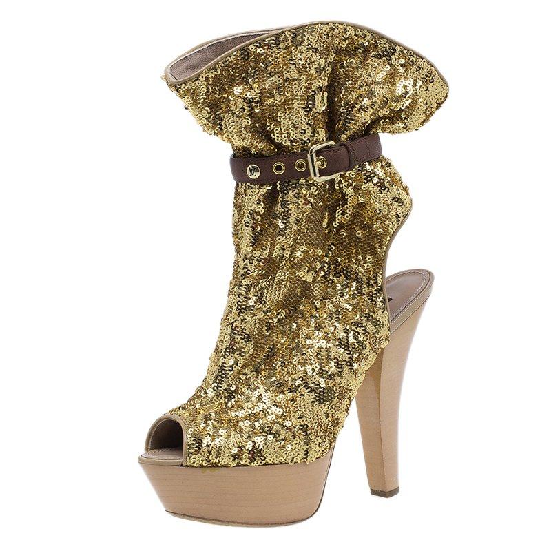 1877be839 ... Gold Sequins Peep Toe Platform Ankle Boots Size 39. nextprev. prevnext