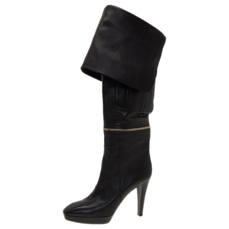 1fe47262fa6c Buy Louis Vuitton Black Leather Zip and Pocket Detail Tall Boots ...