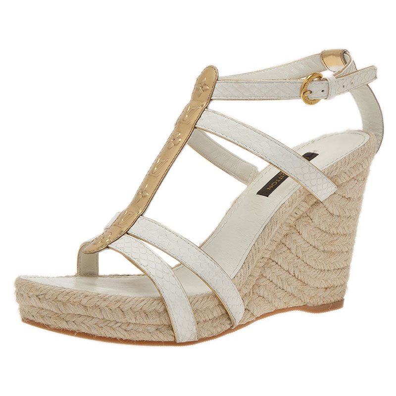 b23867f81f9 ... Louis Vuitton White Leather Bahamas T-Strap Espadrille Wedge Sandals  Size 37. nextprev. prevnext