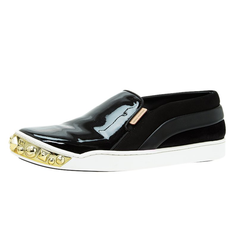 40f4f3314fc Buy Louis Vuitton Black Patent Gold Studded Tempo Slip On Sneakers ...
